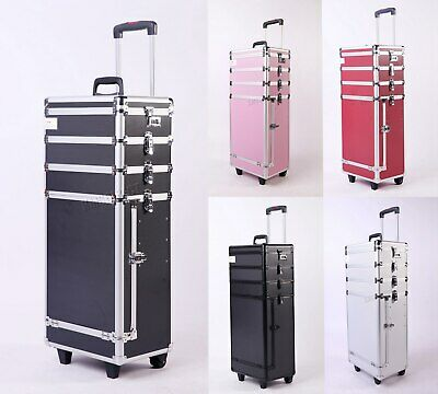 FoxHunter Makeup Beauty Cosmetic Hairdressing Nail Alu 4 In 1 Case Box Trolley
