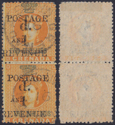 KOLONIE GRENADA Karibik 1890 pair QV provisionals Mi 30 SG 44 readable cds €200+