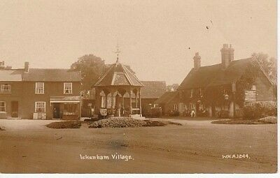 RP Early ICKENHAM VILLAGE - shop, Coach & Horses Inn, house, bandstand, people