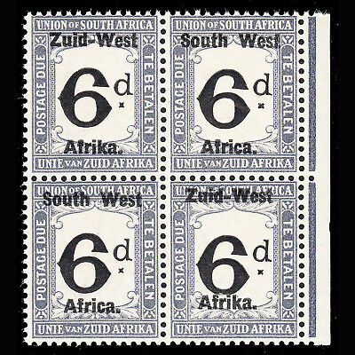 South West Africa Postage Due 1923 6d superb MNH block of 4 SG D5 CV £100 as MH