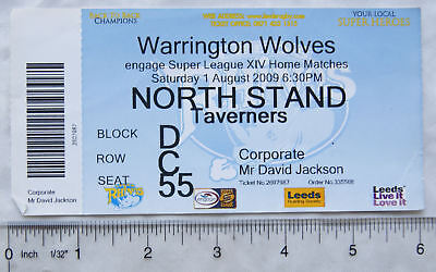 2009 ticket + stub Leeds Rhinos v. Warrington Wolves, corporate