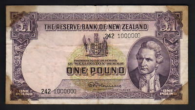 NEW ZEALAND P-159d. 1 Pound (1956-67)-Fleming. Million Serial Number 242 1000000