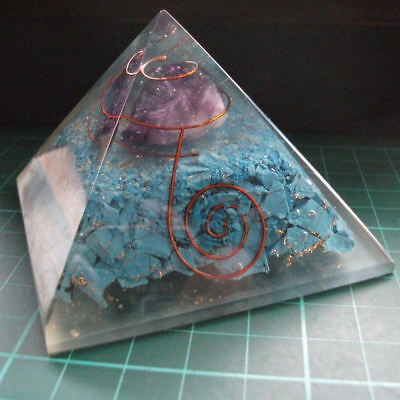 Auction Orgonite Turquoise Chips Crystal Pyramid EMF Energy Protection 70mm