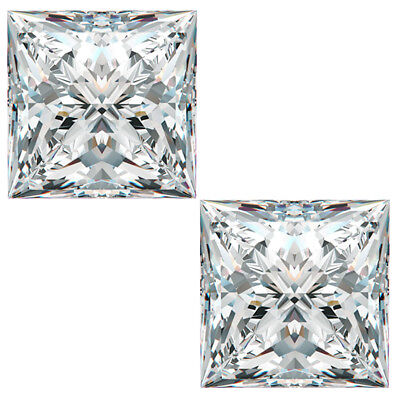 2.54ct VVS1-2pc/6.25mm WHITE H-I COLOR PAIR LOOSE PRINCESS MOISSANITE PAIR