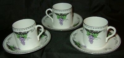 SHELLEY: 3 x 'GRAPES' pattern, 'MOCHA' shape coffee cans & saucers. NR!