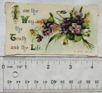 Vintage scrap - violets, I am the Way the Truth and the Life