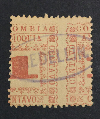 Momen: Colombia #128 Var. 1901 Misperf Used $ Lot #6510