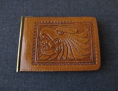 Vintage Ethnic Embossed Genuine Leather Bifold Cards Holder