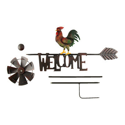 Metal Rooster Garden Wind Spinner Farm Windmill Yard/Lawn Art Outdoor Home Decor