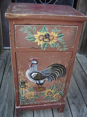 Tole Painted Cabinet w/ Sun Flowers & Chicken.Nite Stand End Table 9049