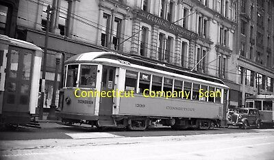 Connecticut Company Original B&w Trolley Negative Of Car 1339 New Haven In 1935