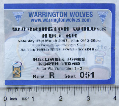 2007 ticket Warrington Wolves v. Hull Kingston Rovers