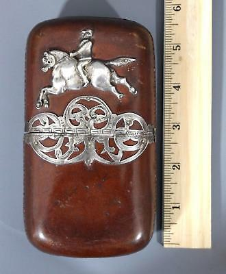 Antique Early 20thC Silver Horse & Leather Gentlemans Cigar Case, NR