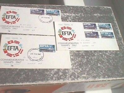 EFTA - 3 x 1967 First Day Covers