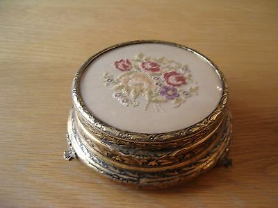 Vintage Decorative Brass And Petit Point Powder Bowl.
