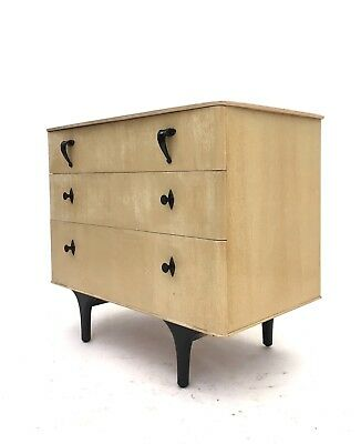 Vintage Retro Mid Century Light Blonde Danish Style Atomic Chest of Drawers