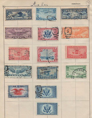 USA, selection of stamps on 2 pre war album pages #8 & 9.