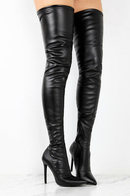 Slay Black Pu Leatherette Fitted Thigh High Pointy Toe High Heel Boots 5.5-11