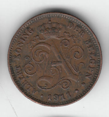 Belgium 2 Cents 1911 Copper         252Z       By Coinmountain