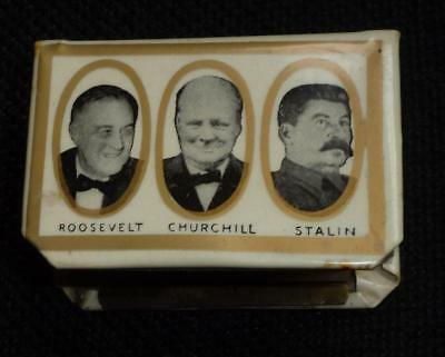 Interesting WW2 souvenir matchbox holder Churchill,Stalin etc