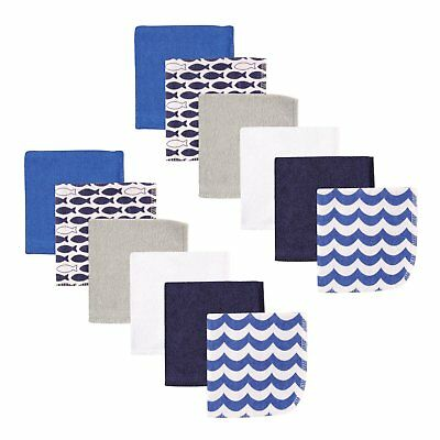 """Luvable Friends 12 Pieces Baby Boys Washcloths 9 X 9"""" Blue Fishes New"""