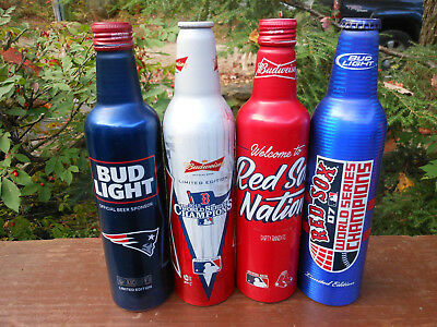 4 diff. BOSTON SPORTS TEAMS BUD ALUMINUM BEER BOTTLES/CANS-RED SOX,PATRIOTS