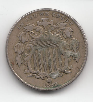 Usa Shield Nickel 1869 Scarcer       276Z       By Coinmountain