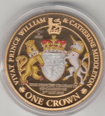 2013 Queen Elizabeth 11 Gold Plated Tdc Capsuled 1 Crown Coin. William And Kate