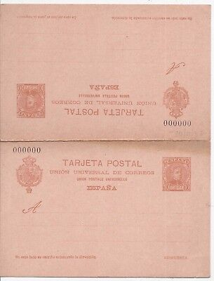 Spain 1904 10c reply stationery Portugal Y Gibraltar card 000000 number unused