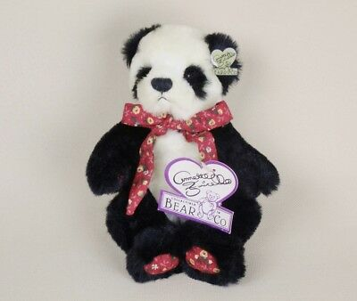 Annette Funicello Teddy Bear NUBBY PANDA Red Bow & Paws Jointed