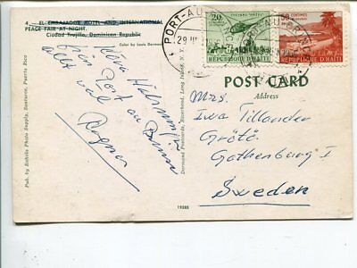 Haiti post card to Sweden 1956