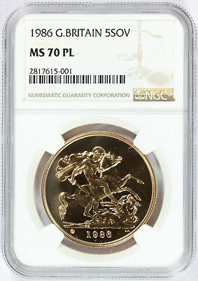 1986 Great Britain 5 Pounds Sovereign Gold Coin - NGC MS 70 PL - KM# 945 - RARE
