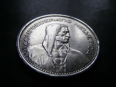 1954 Switzerland Silver 5 Francs Coin