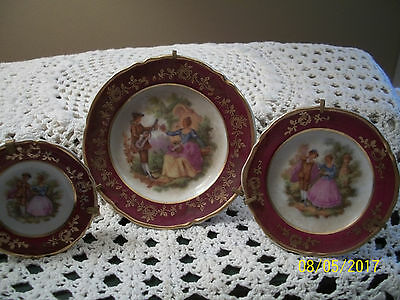 Set/3 Limoges France Miniature Dollhouse Plates/Stands Courting Couple