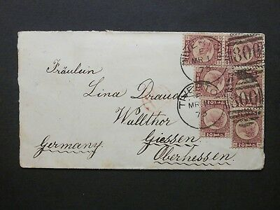 GB Devon 1873 QV 6x 1/2d bantam Plate 5 Envelope 800 TIVERTON Duplex to Germany