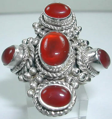 Ring with 4 Carnelian in Sterling Silver Statement Stylish Jewelry