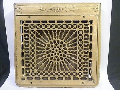 Antique Cast Iron Grate Register Grille Wall Victorian W/ Frame & Damper