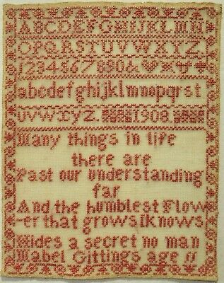 Early 20Th Century Verse & Alphabet Sampler By Mabel Gittings Aged 11 - 1908