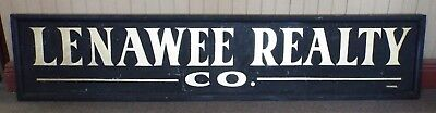 """LARGE 97 1/2"""" Wood & Tin Vintage LENAWEE REALTY MI Advertising SIGN Wright Signs"""