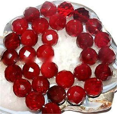 """6mm Red Ruby Faceted Round Gem Loose Beads Gemstone 15"""""""