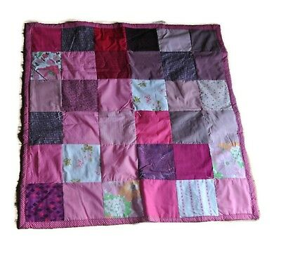 "Handmade Square Quilt Pink Polka Dot 46"" x 46"" Flowers Patchwork Throw"