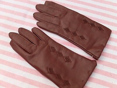 Vintage Leather Effect Burgundy Ladies Gloves