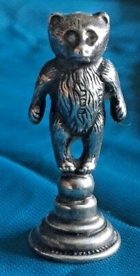 Antique Sterling Teddy Bear  (sealing wax stamp ?) English Hallmarked 1907(?)