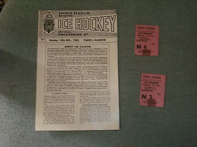 Brighton Tigers  V  Glasgow Flyers  18-11-62  + Ticket Stubs  Four Pager