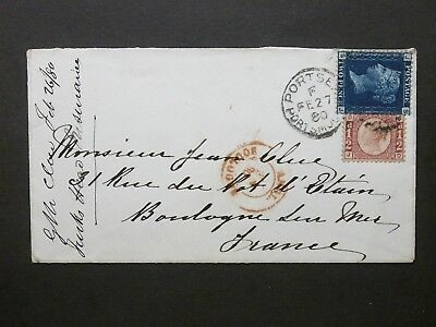 Hampshire QV 1/2d bantam + 2d blue Cover 625 PORTSEA PORTSMOUTH Duplex to France