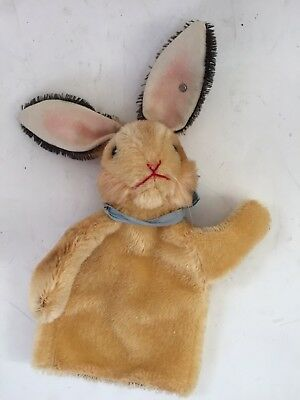Steiff Hand Rabbit (Bunny) Puppet, Mohair Germany Vintage Antique Button