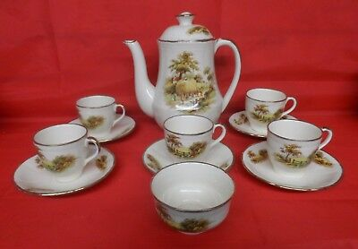 Alfred Meakin Hay Ride Coffee Pot, 5 Cups and Saucers, Sugar Bowl. 1950s.