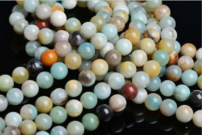 8mm Mixed Color Amazon Round Stone Beads Loose Spacer 15''L