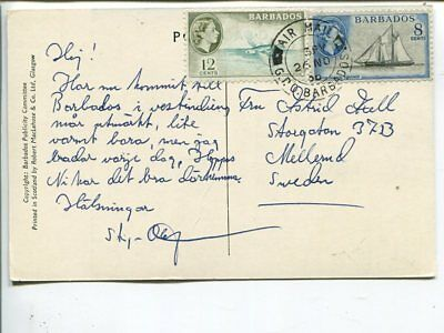 Barbados post card to Sweden 1956