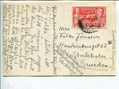 Barbados post card to Sweden 1940